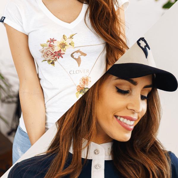 T-shirt EMMA biały + czapka z daszkiem EVE czarno-beżowa